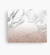 Rose Gold Glitter auf Marmor Leinwanddruck