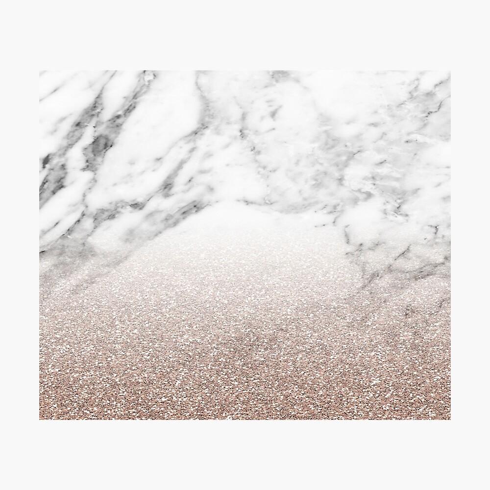Rose Gold Glitter auf Marmor Fotodruck