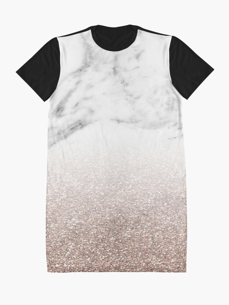 Alternative Ansicht von Rose Gold Glitter auf Marmor T-Shirt Kleid