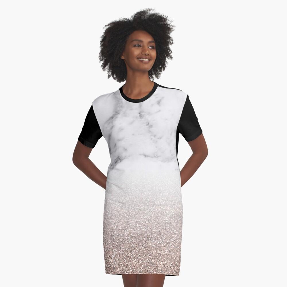 Rose Gold Glitter auf Marmor T-Shirt Kleid