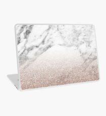 Rose gold glitter on marble Laptop Skin