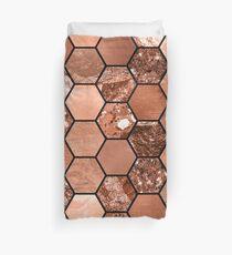 Rose gold hexaglam Duvet Cover