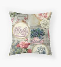Alice floral collage Throw Pillow