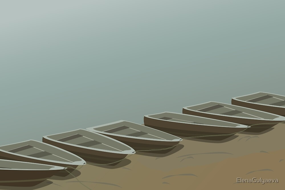 Boats on the shore by ElenaGulyaeva