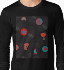 Vinyl records disc collection. Seamless pattern. T-Shirt