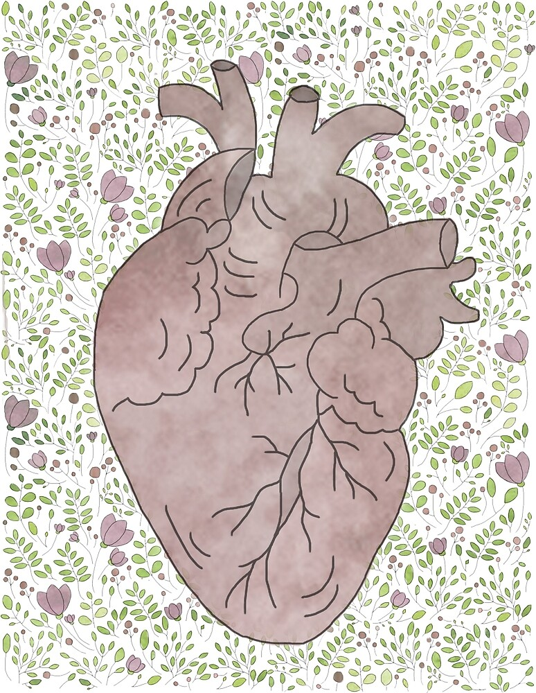 Floral Watercolour Heart by emily  gaskin
