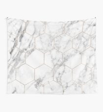 Rose gold and marble honeycomb Wall Tapestry
