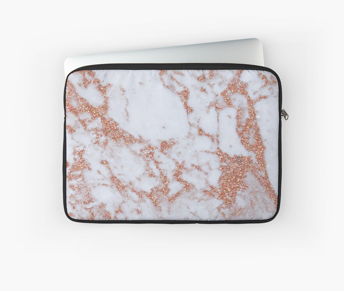 Quot Intense Rose Gold Marble Quot Laptop Sleeve By Peggieprints