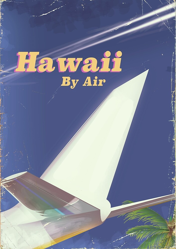 Hawaii Flight vintage vacation print by vectorwebstore