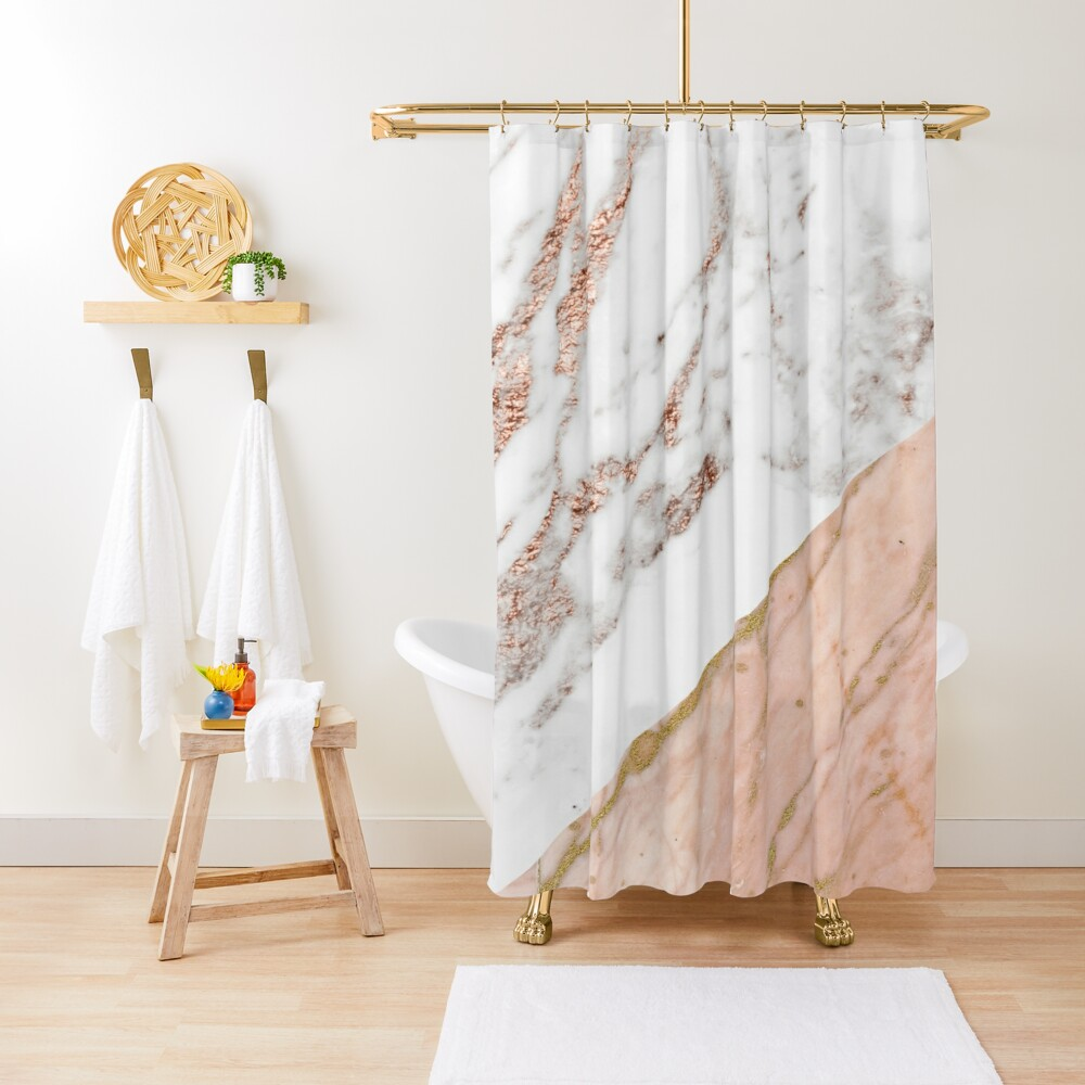 Rose gold marble blended Shower Curtain