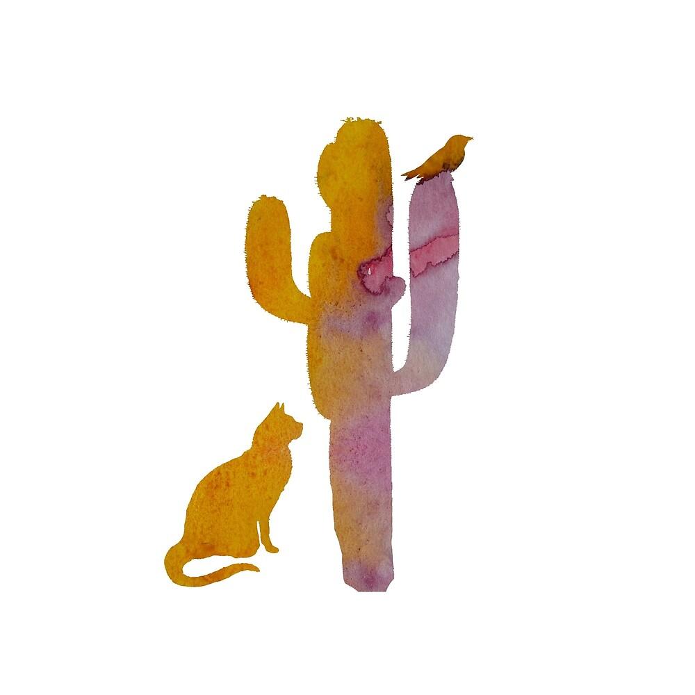 cat bird cactus water color art by TheJollyMarten