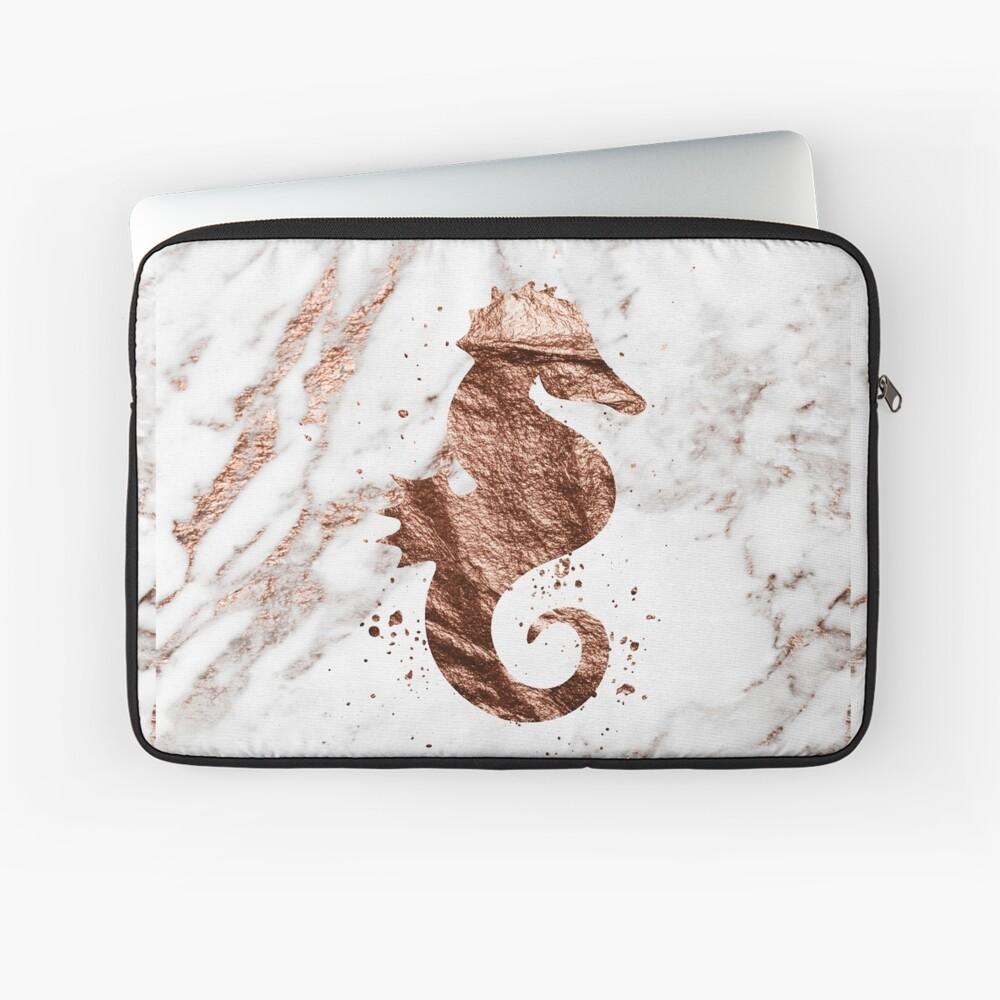 Roségold Marmor Seepferdchen Laptoptasche