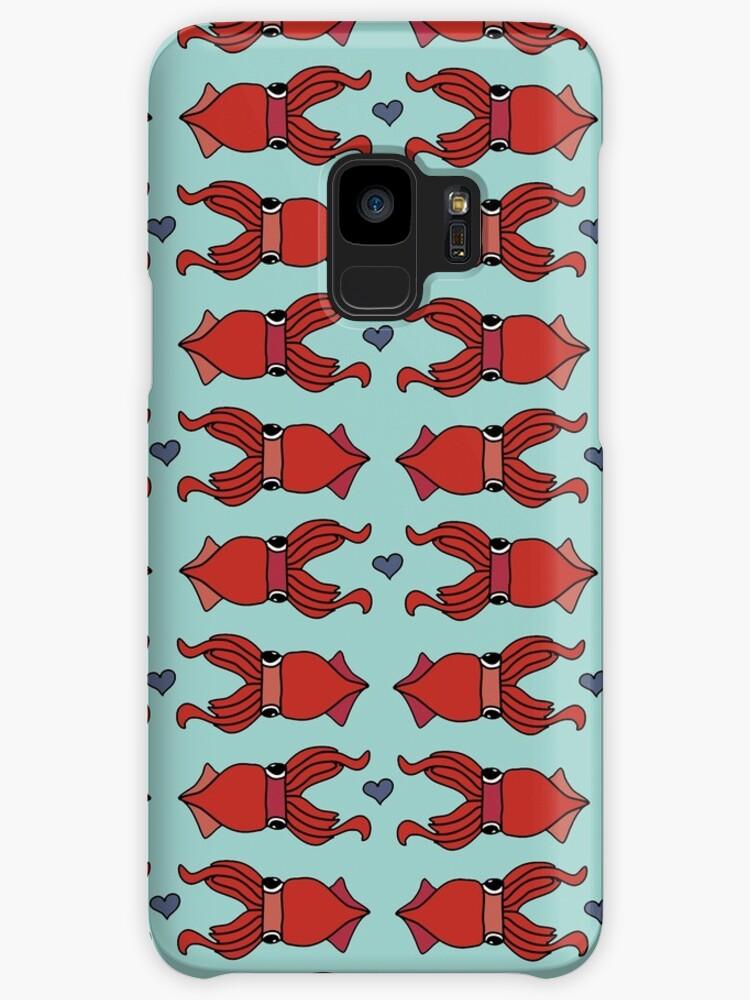 Squids in Love pattern - Red on Aqua by critterandposie