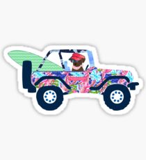 Preppy Jeep Chocolate Lab Puppy Island Vacation Sticker
