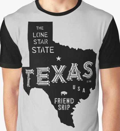 Texas State Shape & Motto & Nickname Graphic T-Shirt