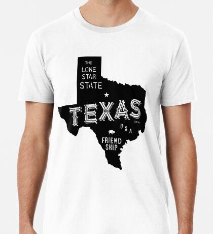 Texas State Shape & Motto & Nickname Premium T-Shirt