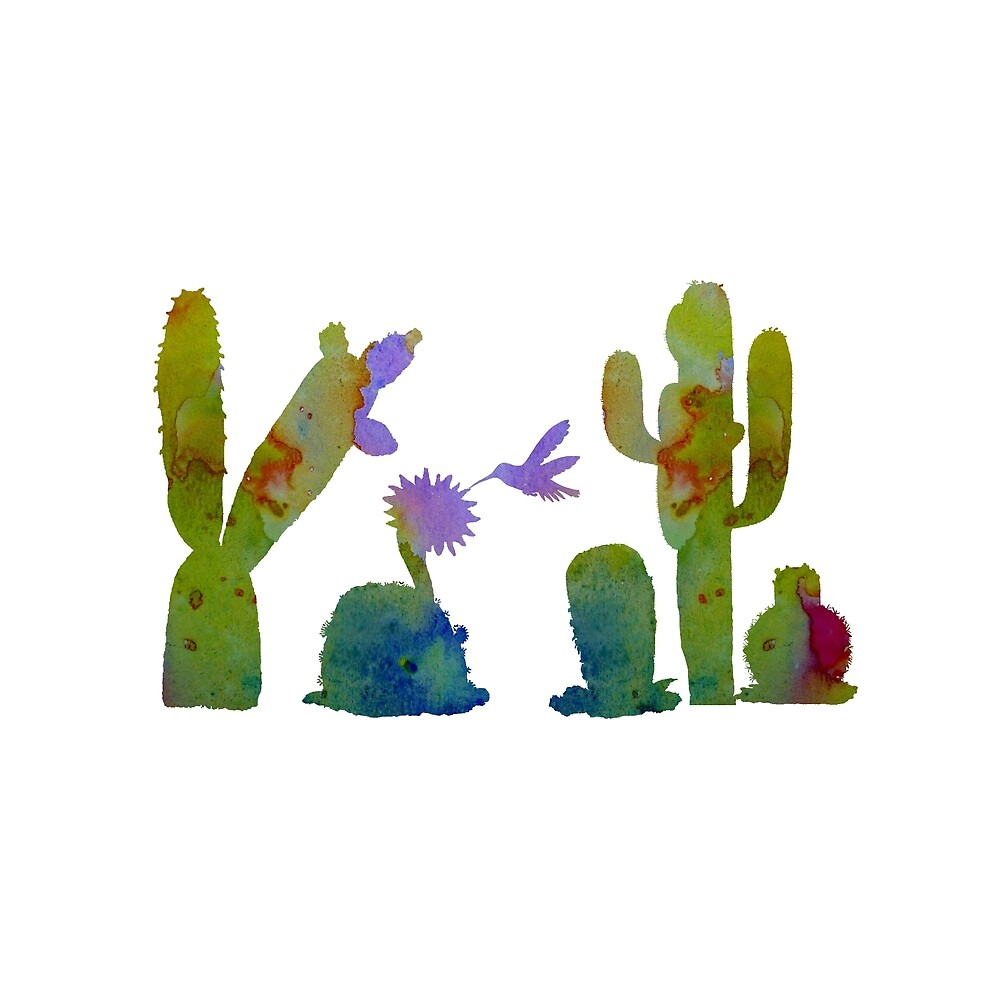 Cacti and a hummingbird by TheJollyMarten