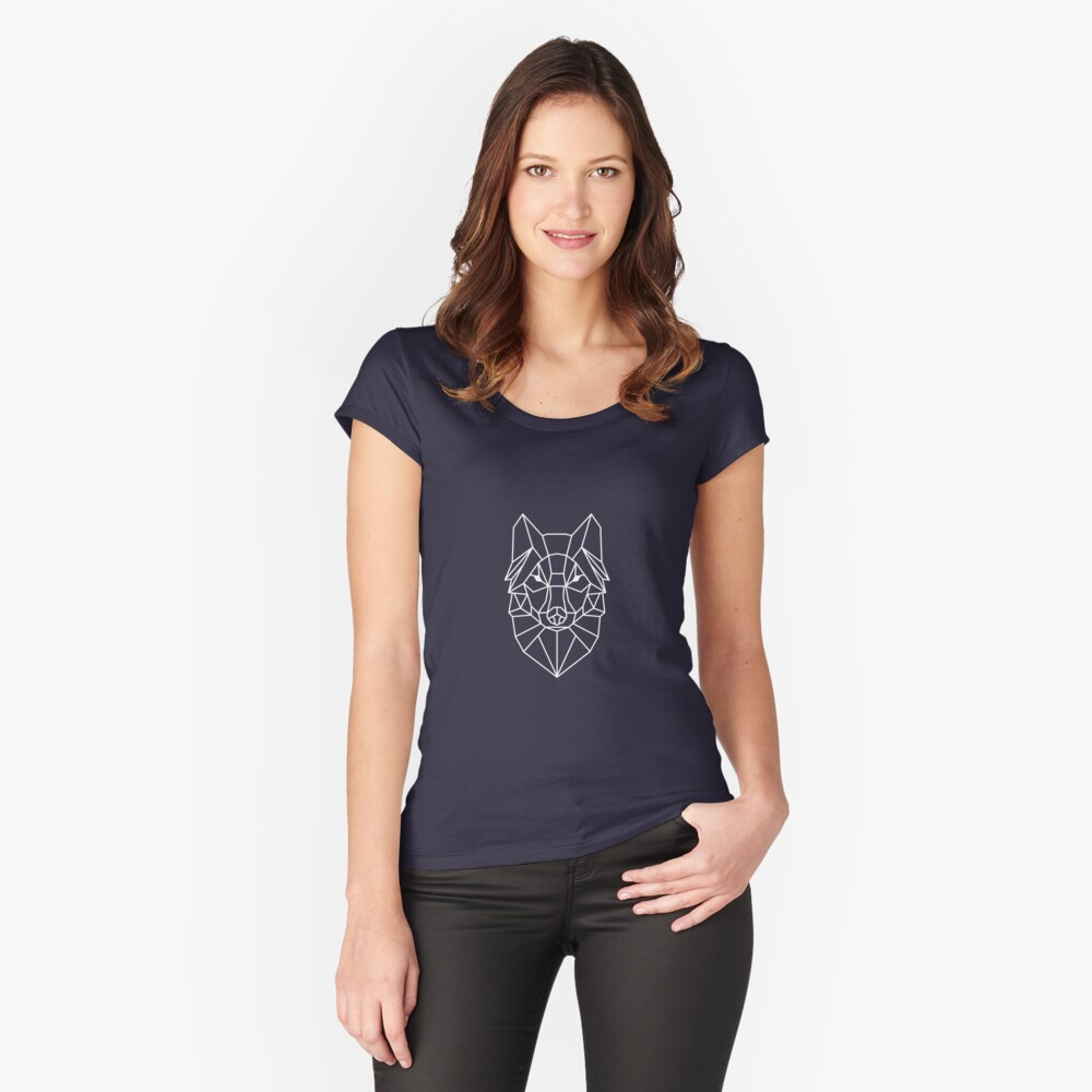 Wolf - Geometric Design Women's Fitted Scoop T-Shirt Front