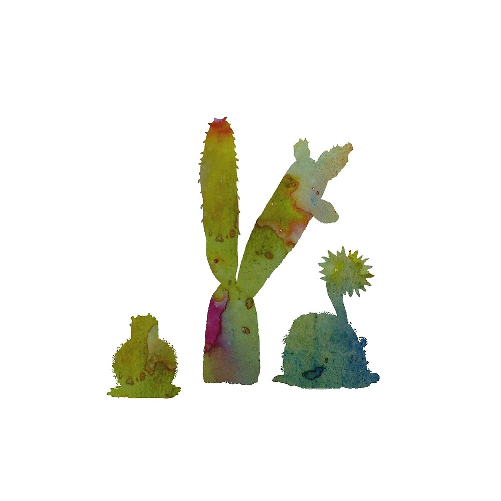Water color Cacti art by TheJollyMarten