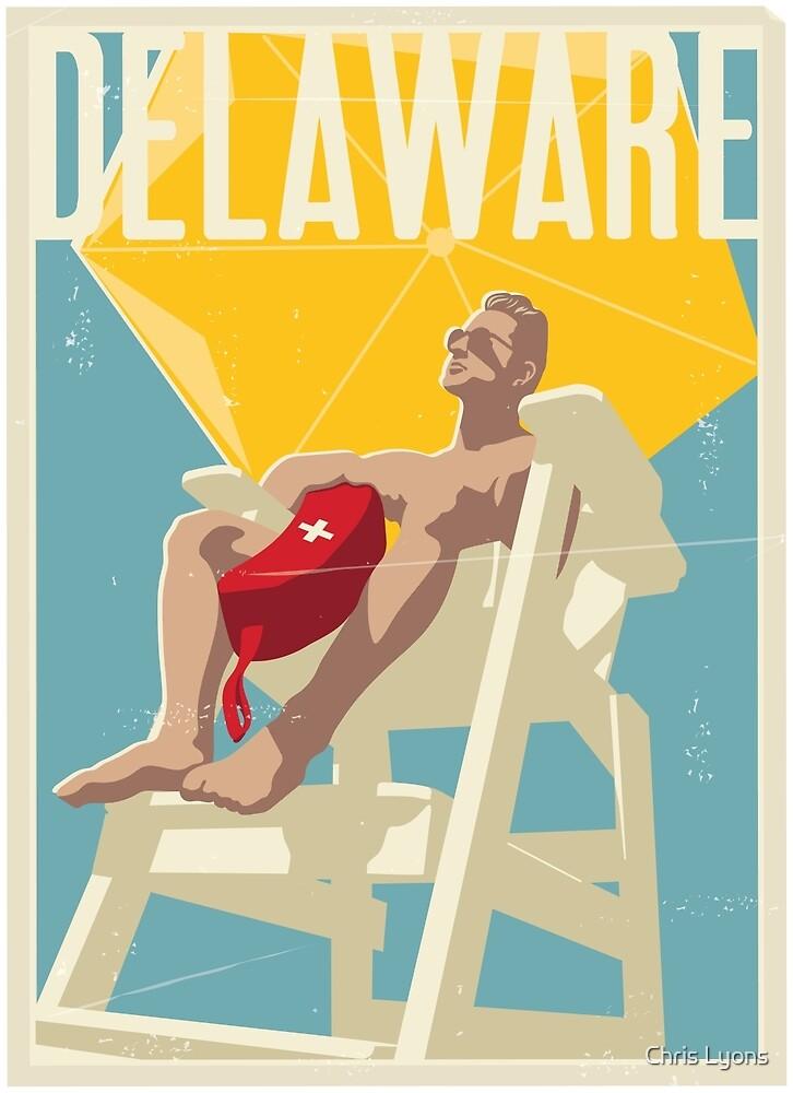 Delaware Vintage Travel Art by Chris Lyons