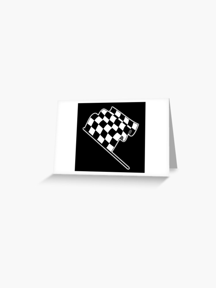 MOTOR SPORT, Racing Cars, Race, Checkered Flag, Flutter, WIN, WINNER,  Chequered Flag, Finish line, BLACK | Greeting Card