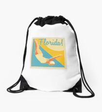 Vintage Florida Travel Art Drawstring Bag