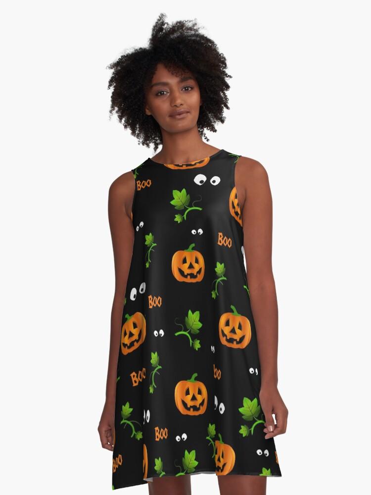 Pumpkins - Halloween pattern A-Line Dress Front