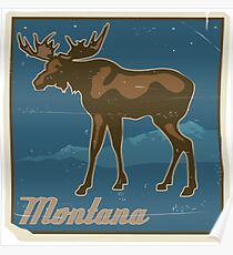 Montana Vintage Travel Art Poster