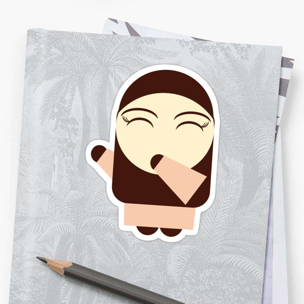 cute muslimah with hijab cartoon character in orange Abaya by laylah
