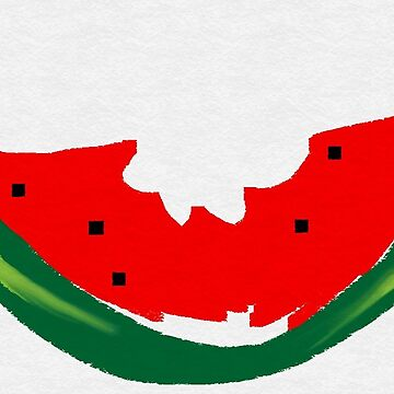 a bitten piece of watermelon slice  by fonzyhappydays