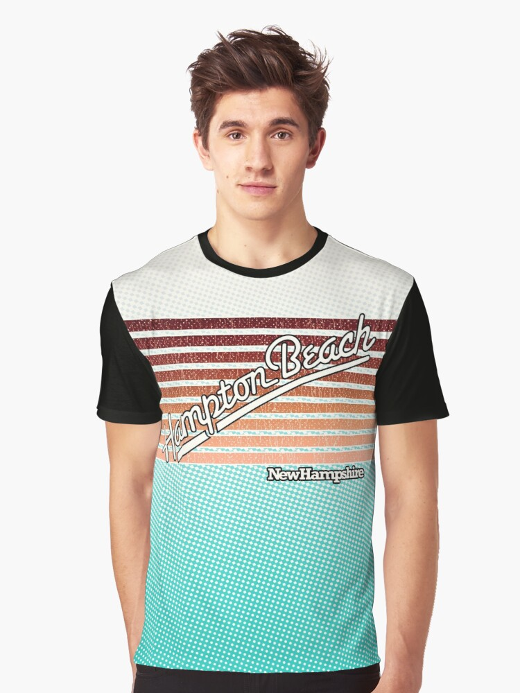 Hampton Beach, New Hampshire | Surf Stripes Graphic T-Shirt Front