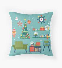 Retro Christmas Living Room Design Throw Pillow