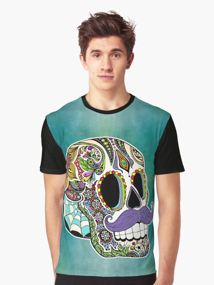 Mustache Sugar Skull (Color Version) Graphic T-Shirt Front