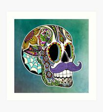 Mustache Sugar Skull (Color Version) Art Print