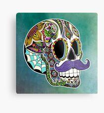 Mustache Sugar Skull (Color Version) Metal Print