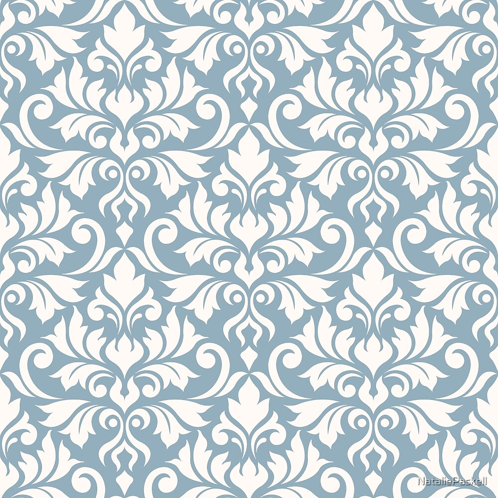 Flourish Damask Pattern Cream on Blue by NataliePaskell