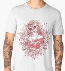 Sexy Woman zombie WITH Flower - Light Coral Men's Premium T-Shirt