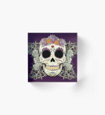 Bloque acrílico Cráneo y flores vintage