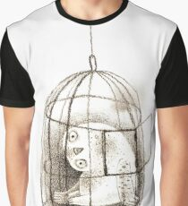 Pondering Snowy Owl Sitting in a Birdcage Graphic T-Shirt