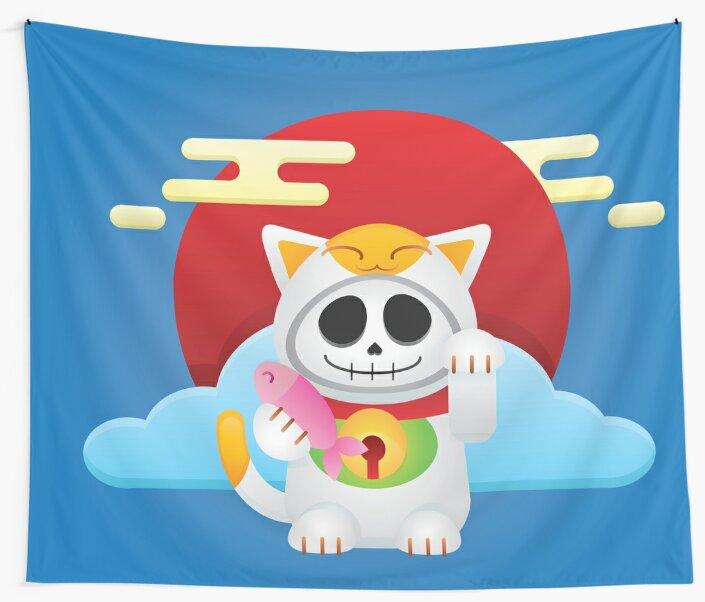 Skeleton Maneki Neko / Lucky Cat by 3nvy