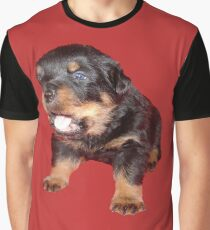Rottweiler Puppy with Funny Cute Geeky Expression Graphic T-Shirt