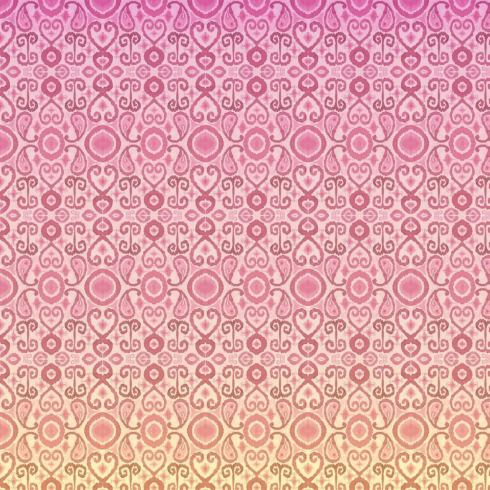 Sunset Ikat Pattern by LThomasDesigns