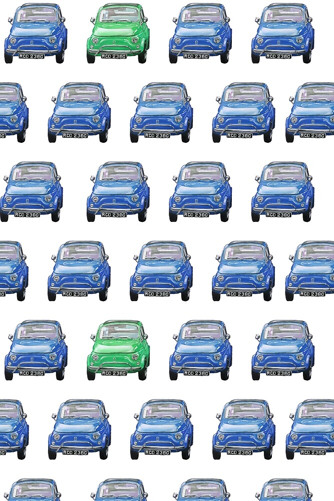 Blue and Green Classic Fiat 500 Collage by catpro