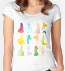 Princesses Watercolor Silhouette Women's Fitted Scoop T-Shirt