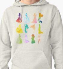 Princesses Watercolor Silhouette Pullover Hoodie