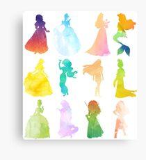 Princesses Watercolor Silhouette Canvas Print