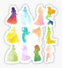 Princesses Watercolor Silhouette Sticker