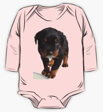 Cute Rottweiler Puppy WIth Milk On Muzzle Kids Clothes