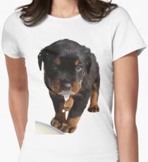 Cute Rottweiler Puppy WIth Milk On Muzzle Women's Fitted T-Shirt