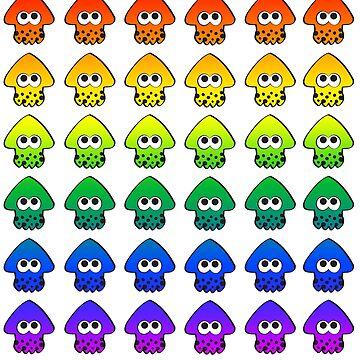 Rainbow Splatoon Squids by hinatameerkat